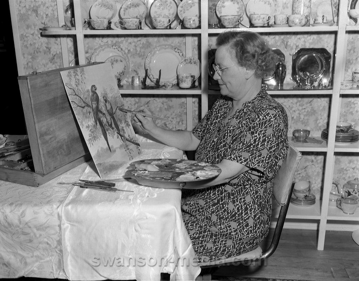 black and white artists paintings. Artist Mrs. Bush paints a pair